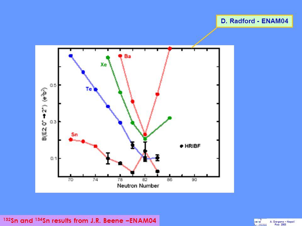 D. Radford - ENAM04 A. Gargano – Napoli Pisa 2005 132 Sn and 134 Sn results from J.R. Beene –ENAM04
