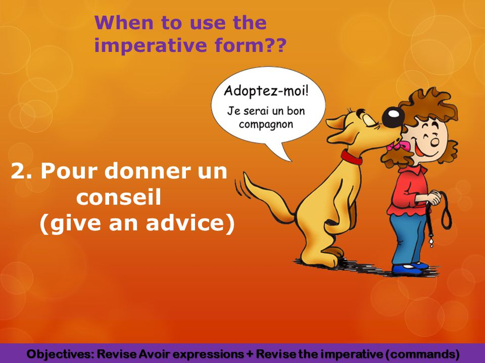 2. Pour donner un conseil (give an advice) When to use the imperative form .