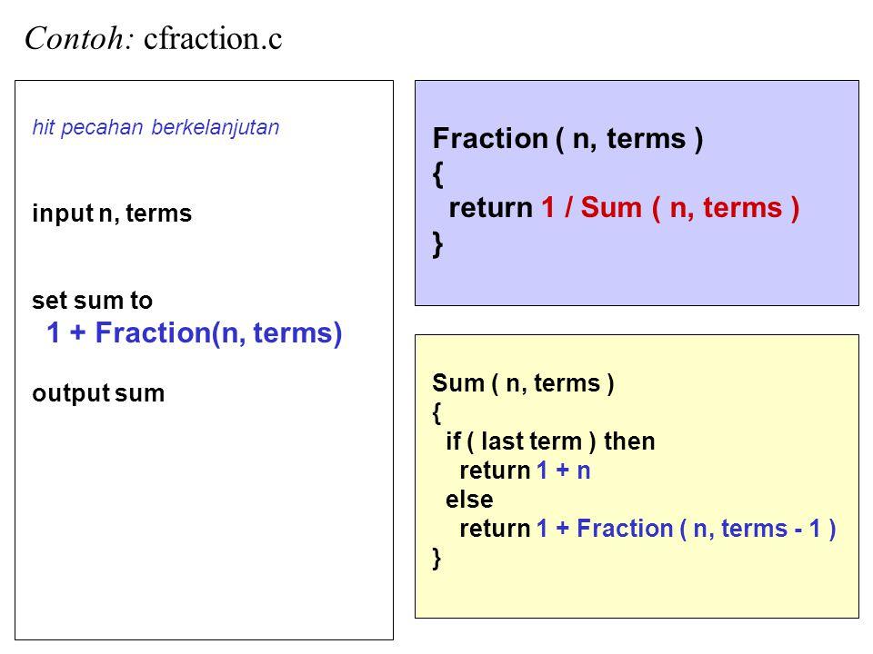 16 Contoh: cfraction.c Fraction ( n, terms ) { return 1 / Sum ( n, terms ) } hit pecahan berkelanjutan input n, terms set sum to 1 + Fraction(n, terms) output sum Sum ( n, terms ) { if ( last term ) then return 1 + n else return 1 + Fraction ( n, terms - 1 ) }