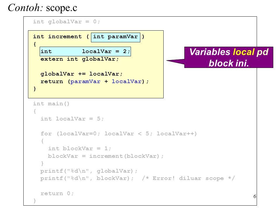 6 int globalVar = 0; int increment ( int paramVar ) { int localVar = 2; extern int globalVar; globalVar += localVar; return (paramVar + localVar); } int main() { int localVar = 5; for (localVar=0; localVar < 5; localVar++) { int blockVar = 1; blockVar = increment(blockVar); } printf( %d\n , globalVar); printf( %d\n , blockVar); /* Error.