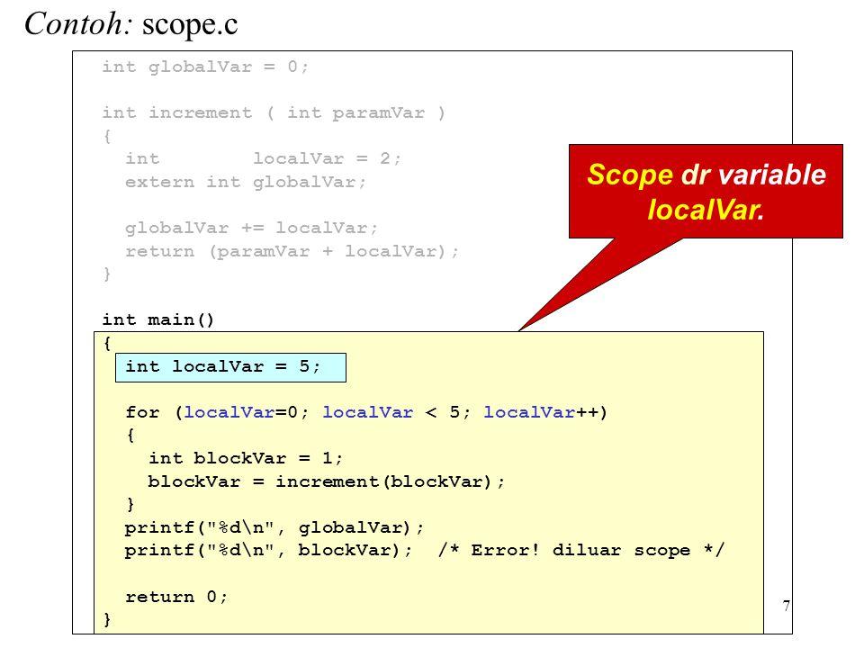7 int globalVar = 0; int increment ( int paramVar ) { int localVar = 2; extern int globalVar; globalVar += localVar; return (paramVar + localVar); } int main() { int localVar = 5; for (localVar=0; localVar < 5; localVar++) { int blockVar = 1; blockVar = increment(blockVar); } printf( %d\n , globalVar); printf( %d\n , blockVar); /* Error.