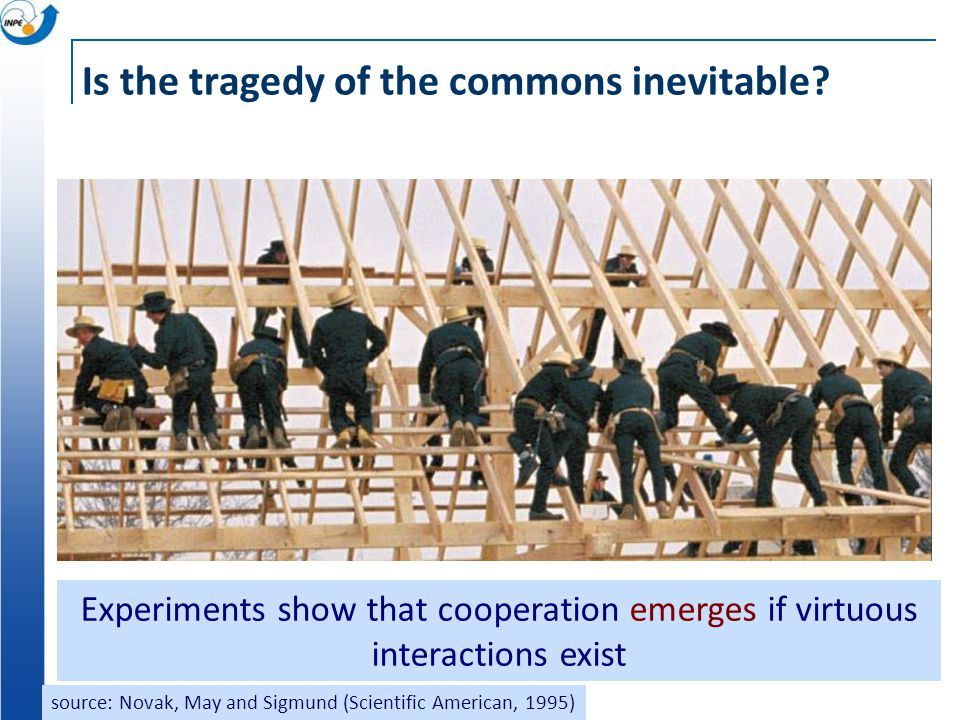 Is the tragedy of the commons inevitable? Experiments show that cooperation emerges if virtuous interactions exist source: Novak, May and Sigmund (Sci