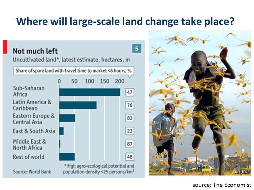 Where will large-scale land change take place? source: The Economist