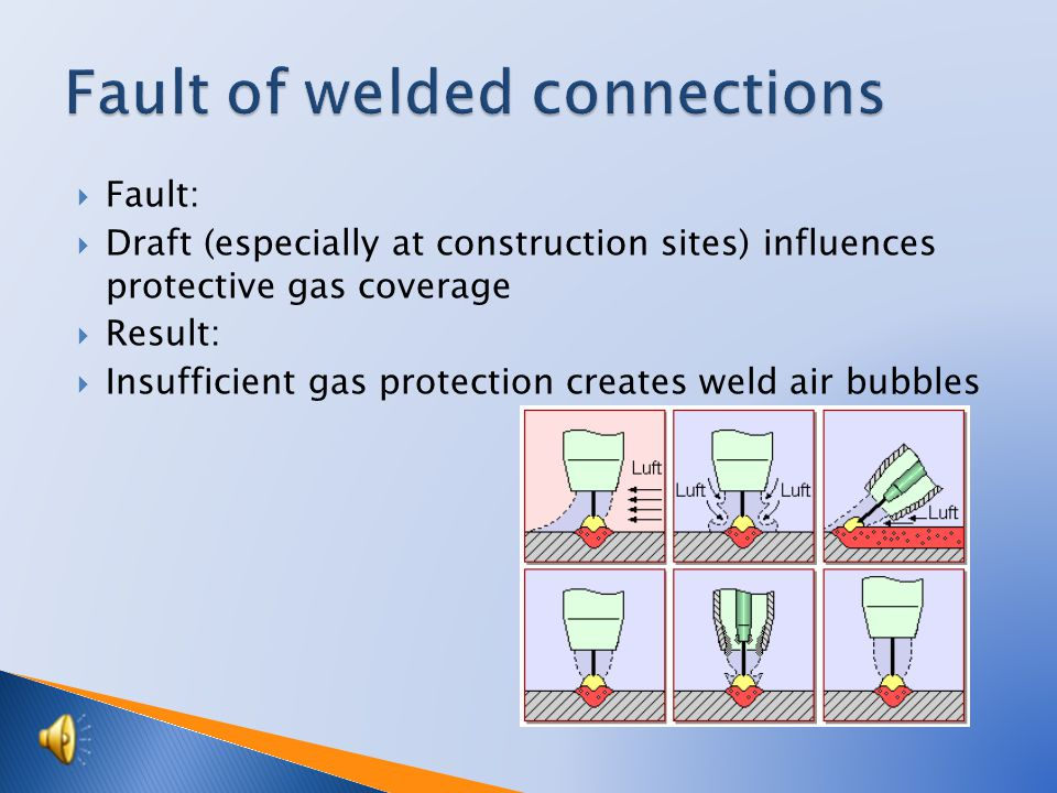  Protects melted medium again surrounded air  Influence shape of weld  Protective gases are tasteless, colorless, odorless  Protective gasses are poisonless