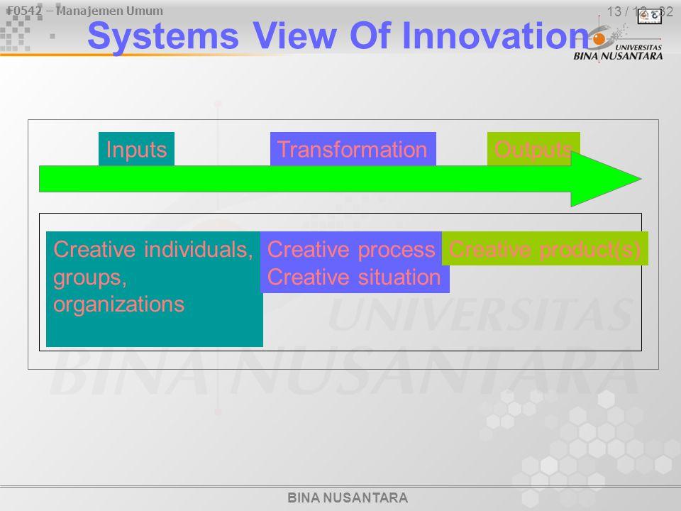 BINA NUSANTARA F0542 – Manajemen Umum 13 / 12 - 32 Systems View Of Innovation Creative individuals, groups, organizations Creative process Creative si