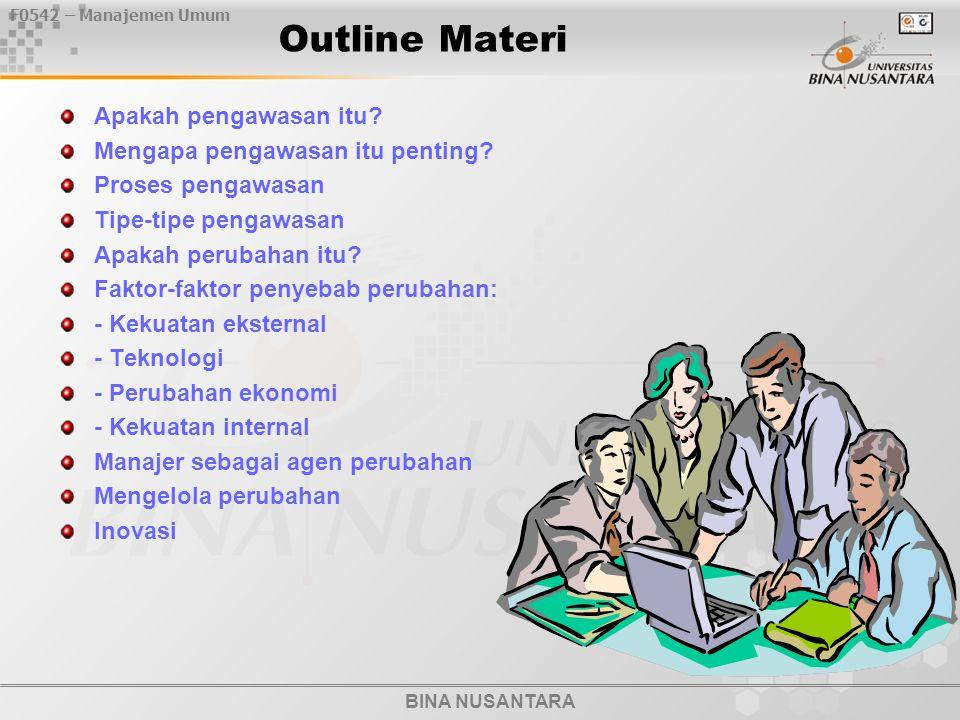 BINA NUSANTARA F0542 – Manajemen Umum Outline Materi Apakah pengawasan itu? Mengapa pengawasan itu penting? Proses pengawasan Tipe-tipe pengawasan Apa