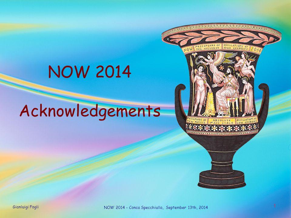 Gianluigi Fogli NOW 2014 - Conca Specchiulla, September 13th, 2014 1 NOW 2014 Acknowledgements