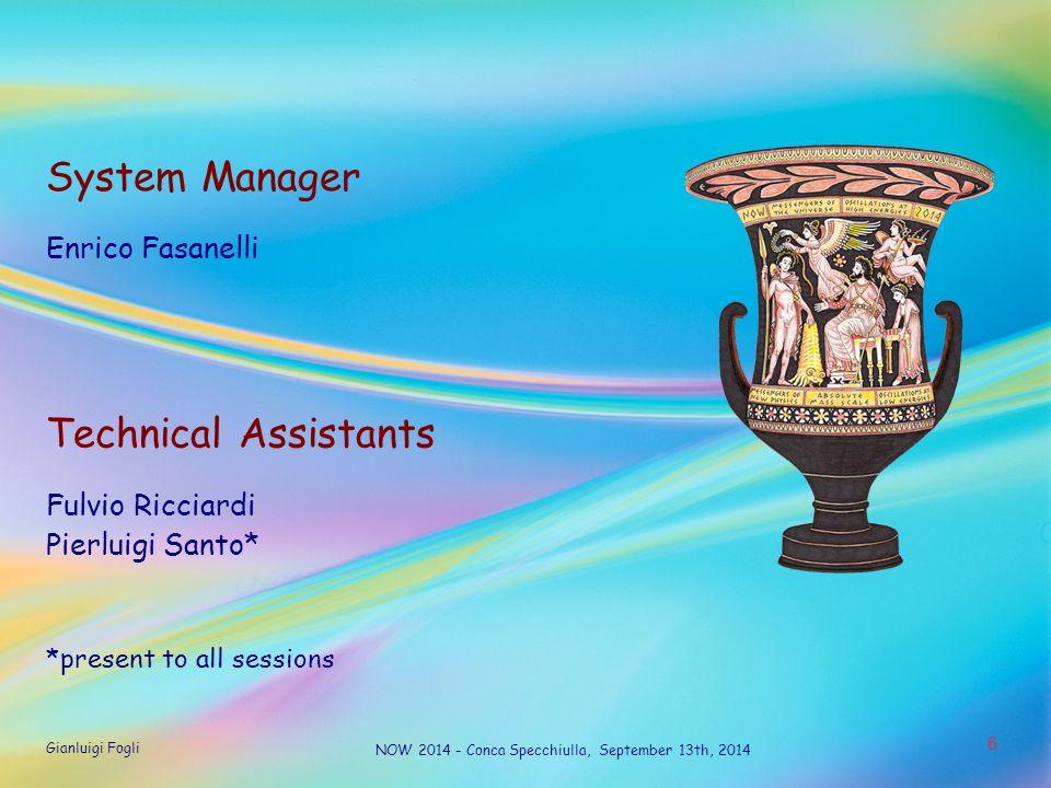 Gianluigi Fogli NOW 2014 - Conca Specchiulla, September 13th, 2014 6 System Manager Enrico Fasanelli Technical Assistants Fulvio Ricciardi Pierluigi Santo* *present to all sessions