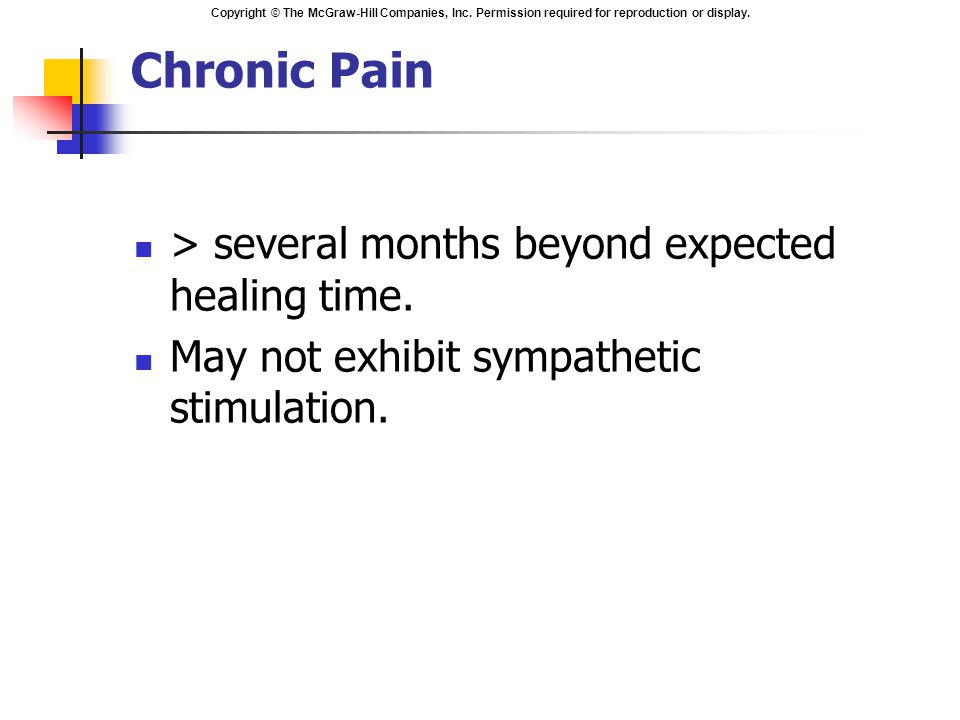 Copyright © The McGraw-Hill Companies, Inc. Permission required for reproduction or display. Chronic Pain > several months beyond expected healing tim