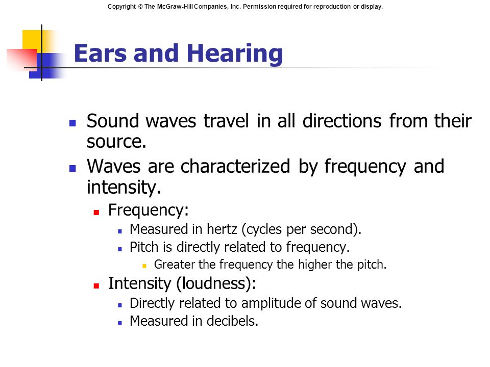 Copyright © The McGraw-Hill Companies, Inc. Permission required for reproduction or display. Ears and Hearing Sound waves travel in all directions fro