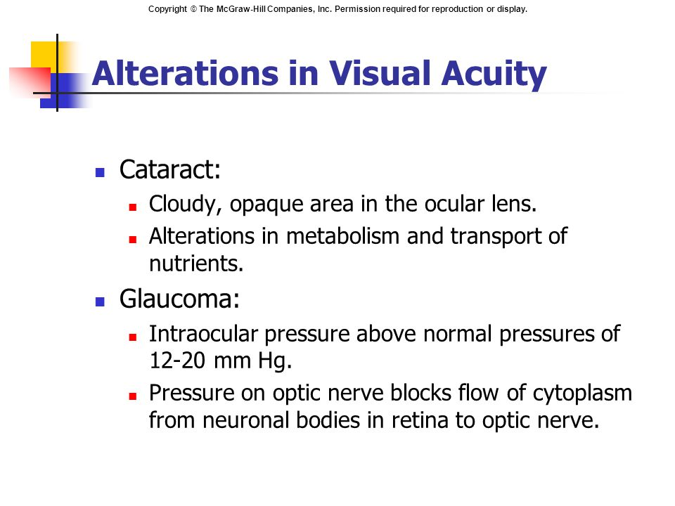 Copyright © The McGraw-Hill Companies, Inc. Permission required for reproduction or display. Alterations in Visual Acuity Cataract: Cloudy, opaque are