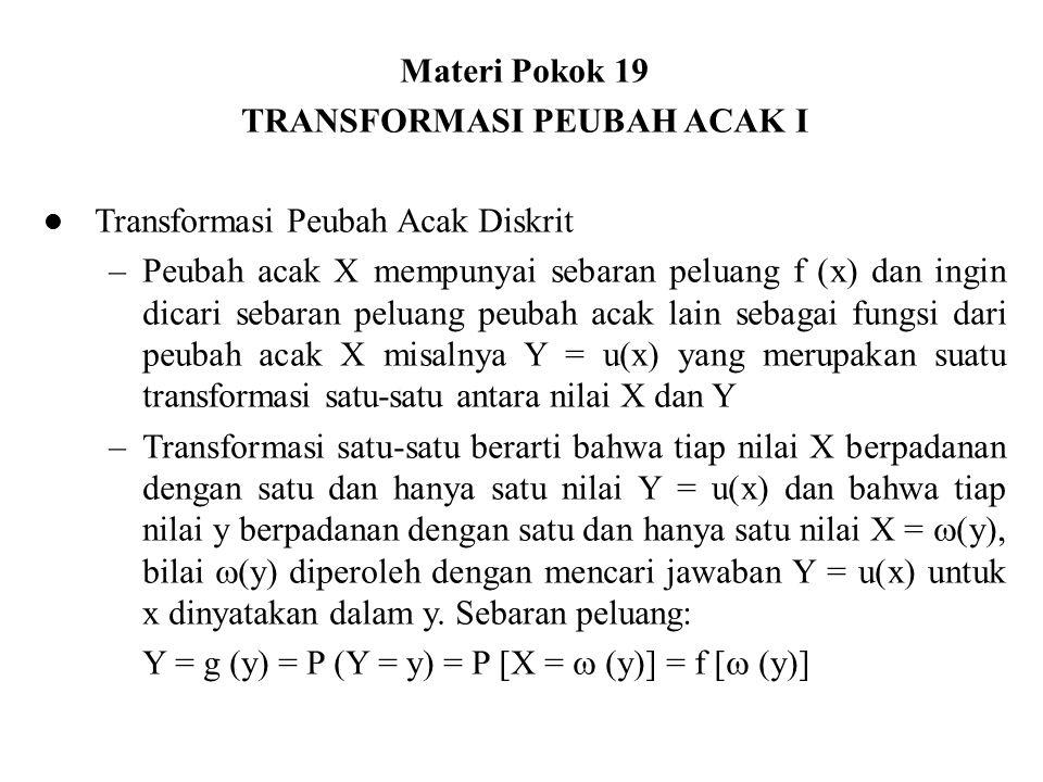 Teorema Misalkan x suatu peubah acak diskrit dengan sebaran peluang f(x), dan peubah acak Y = u(x) suatu transformasi satu-satu antara nilai X dan Y sehingga persamaan y = u(x) mempunyai jawaban tunggal untuk x dinyatakan dalam y; misalnya x =  (y), maka sebaran peluang Y adalah g(y) = f [  (y)] Contoh Peubah acak X menyebar secara binomial dengan parameter n dan p.