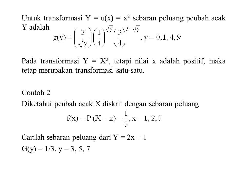 Untuk transformasi Y = u(x) = x 2 sebaran peluang peubah acak Y adalah Pada transformasi Y = X 2, tetapi nilai x adalah positif, maka tetap merupakan