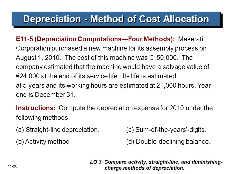 11-20 Depreciation - Method of Cost Allocation LO 3 Compare activity, straight-line, and diminishing- charge methods of depreciation. E11-5 (Depreciat