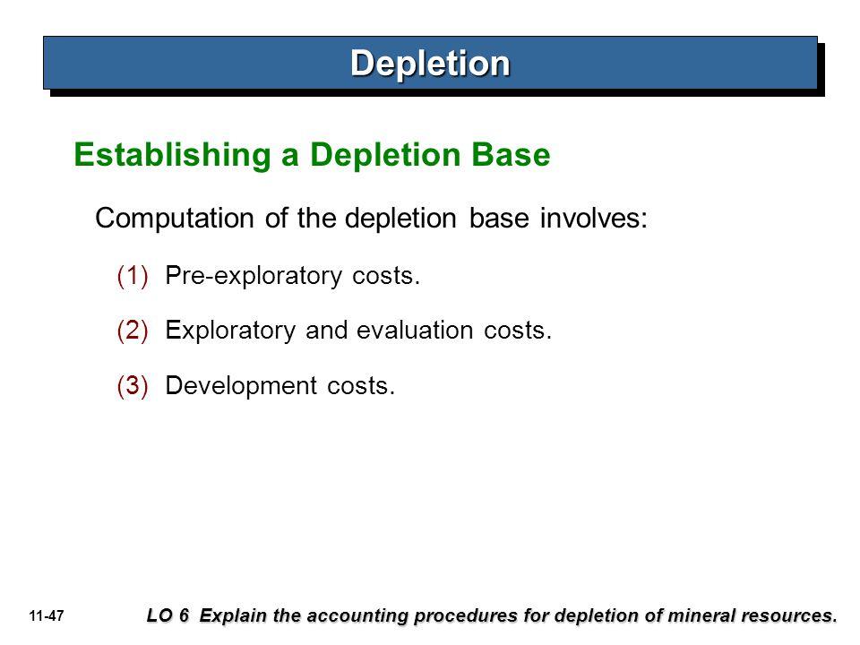 11-47 Establishing a Depletion Base DepletionDepletion LO 6 Explain the accounting procedures for depletion of mineral resources. Computation of the d