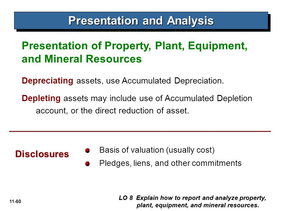 11-60 Presentation of Property, Plant, Equipment, and Mineral Resources Presentation and Analysis Basis of valuation (usually cost) Pledges, liens, an