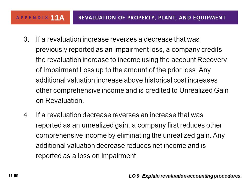 11-69 LO 9 Explain revaluation accounting procedures. 3.If a revaluation increase reverses a decrease that was previously reported as an impairment lo