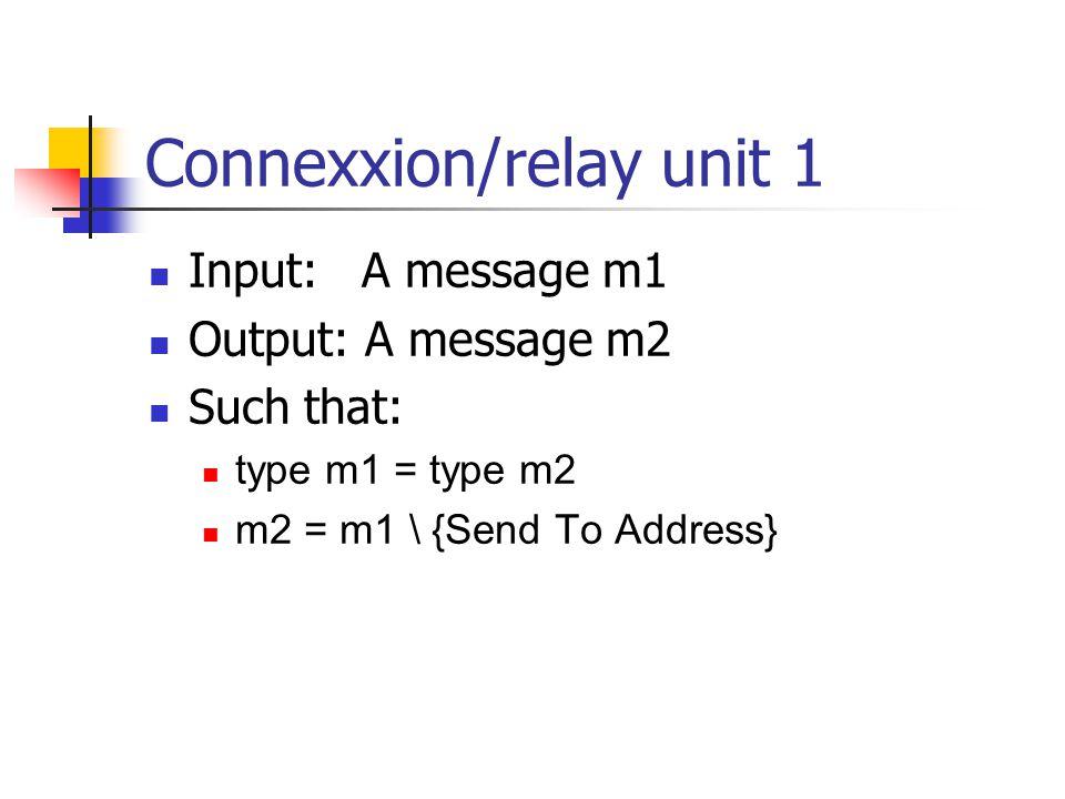 Connexxion/relay unit 1 Input:A message m1 Output: A message m2 Such that: type m1 = type m2 m2 = m1 \ {Send To Address}