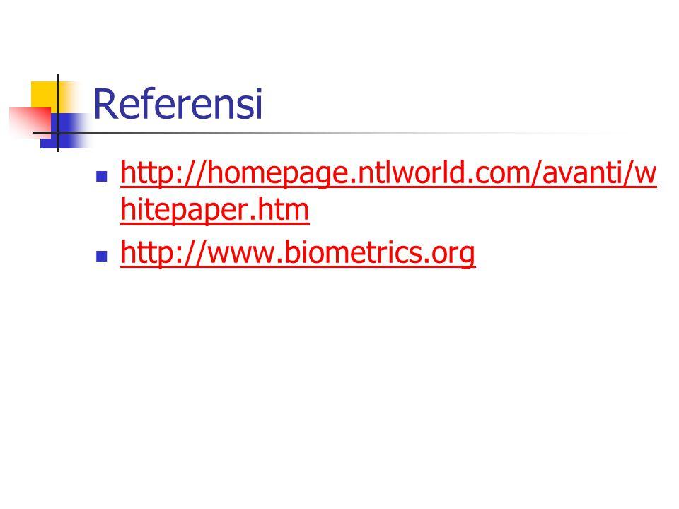 Referensi http://homepage.ntlworld.com/avanti/w hitepaper.htm http://homepage.ntlworld.com/avanti/w hitepaper.htm http://www.biometrics.org