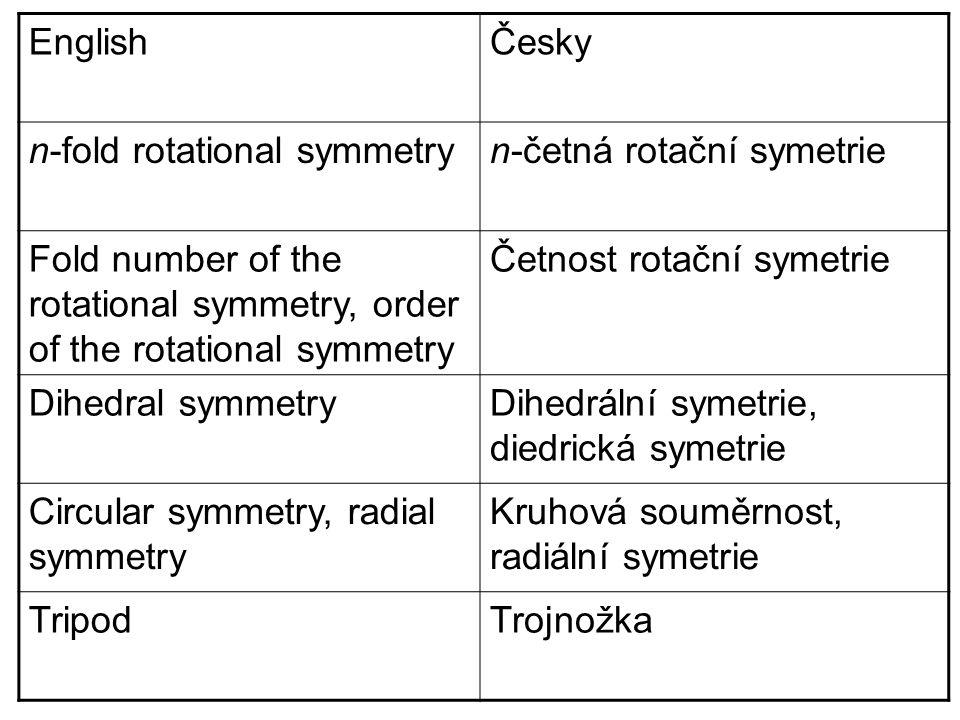EnglishČesky n-fold rotational symmetryn-četná rotační symetrie Fold number of the rotational symmetry, order of the rotational symmetry Četnost rotační symetrie Dihedral symmetryDihedrální symetrie, diedrická symetrie Circular symmetry, radial symmetry Kruhová souměrnost, radiální symetrie TripodTrojnožka