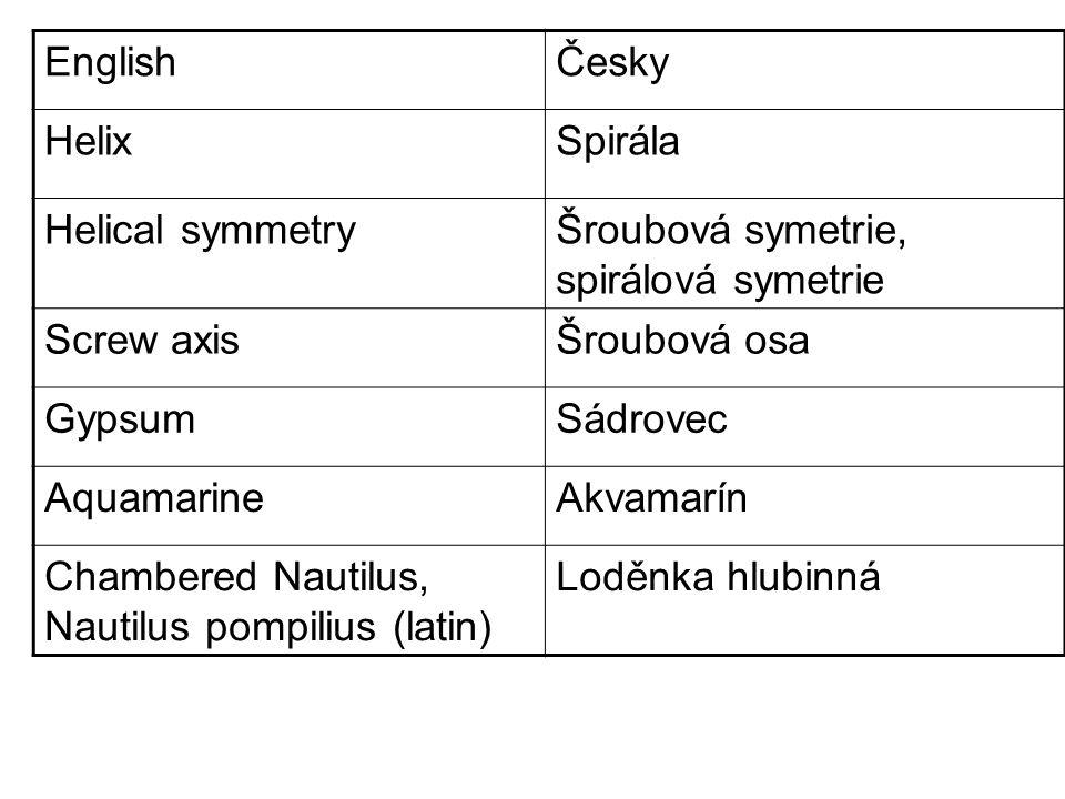 EnglishČesky HelixSpirála Helical symmetryŠroubová symetrie, spirálová symetrie Screw axisŠroubová osa GypsumSádrovec AquamarineAkvamarín Chambered Nautilus, Nautilus pompilius (latin) Loděnka hlubinná