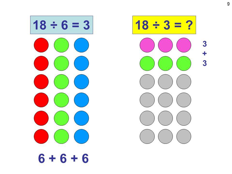 9 6 + 6 + 6 18 ÷ 6 = 318 ÷ 3 = 3+33+3