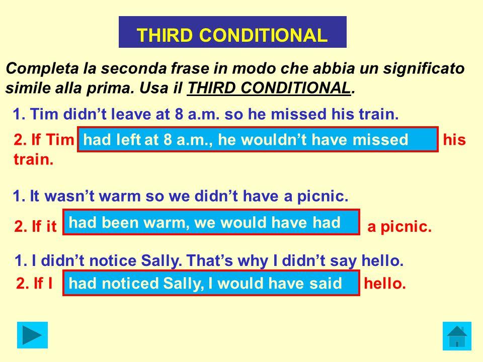THIRD CONDITIONAL Completa la seconda frase in modo che abbia un significato simile alla prima.