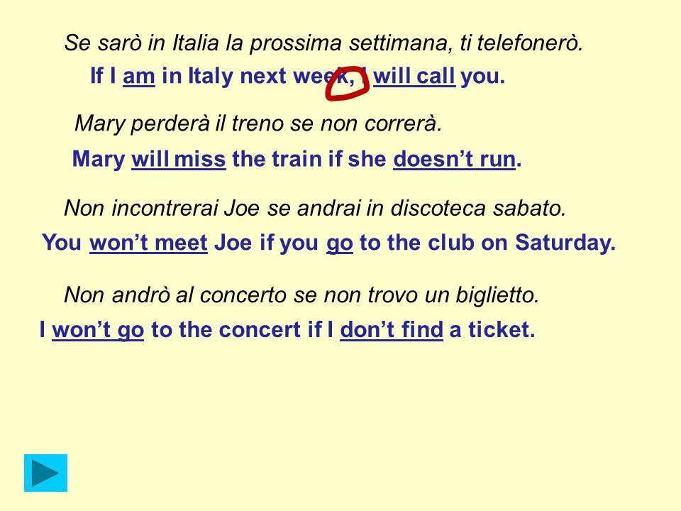 Se sarò in Italia la prossima settimana, ti telefonerò.