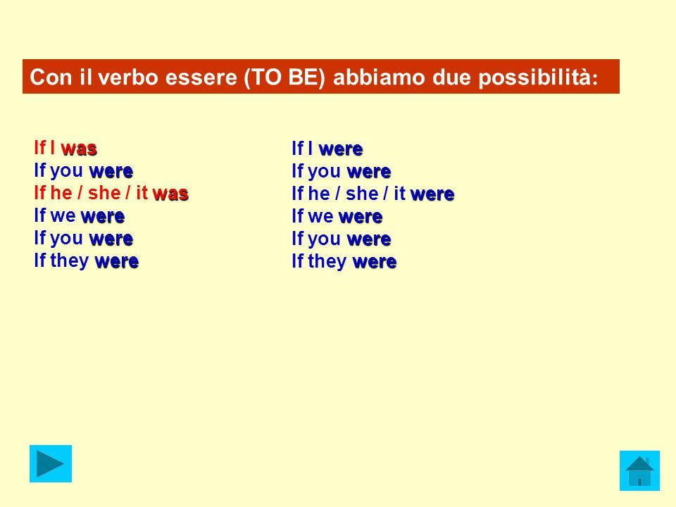 Con il verbo essere (TO BE) abbiamo due possibilità : was If I was were If you were was If he / she / it was were If we were were If you were were If they were were If I were were If you were were If he / she / it were were If we were were If you were were If they were