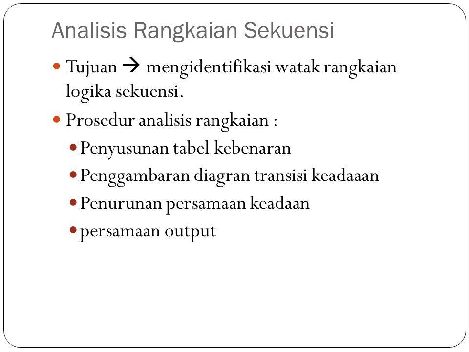Analisis Rangkaian Sekuensi Tujuan  mengidentifikasi watak rangkaian logika sekuensi.
