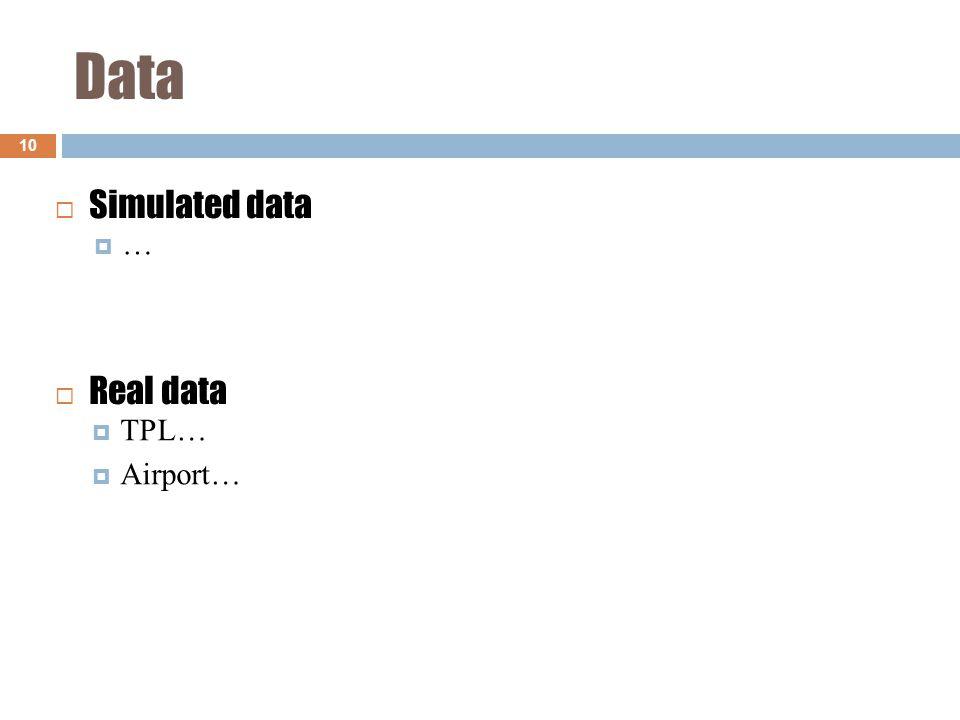 Data 10 ……  Simulated data  TPL…  Airport…  Real data