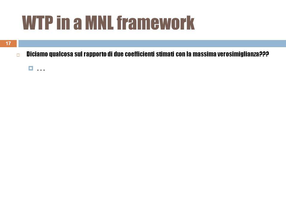WTP in a MNL framework 17 ……  Diciamo qualcosa sul rapporto di due coefficienti stimati con la massima verosimiglianza