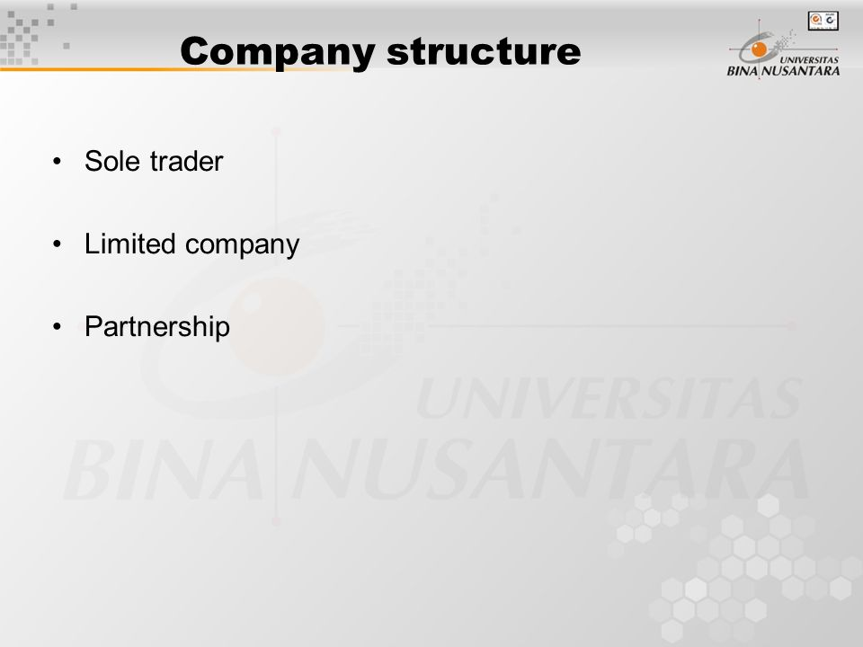 Company structure Sole trader Limited company Partnership