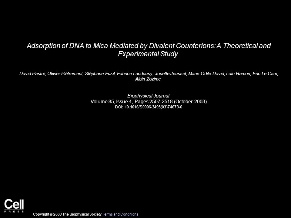 Adsorption of DNA to Mica Mediated by Divalent Counterions: A Theoretical and Experimental Study David Pastré, Olivier Piétrement, Stéphane Fusil, Fabrice Landousy, Josette Jeusset, Marie-Odile David, Loïc Hamon, Eric Le Cam, Alain Zozime Biophysical Journal Volume 85, Issue 4, Pages 2507-2518 (October 2003) DOI: 10.1016/S0006-3495(03)74673-6 Copyright © 2003 The Biophysical Society Terms and Conditions Terms and Conditions