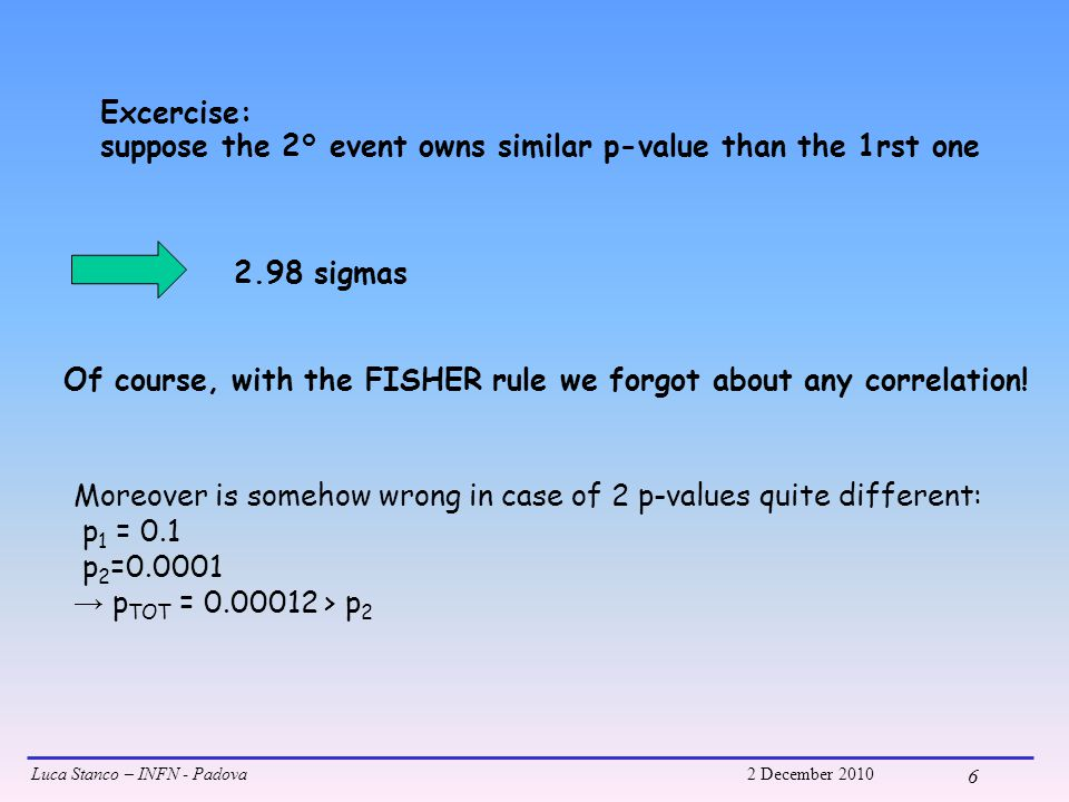 Luca Stanco – INFN - Padova2 December 2010 6 Excercise: suppose the 2° event owns similar p-value than the 1rst one 2.98 sigmas Of course, with the FISHER rule we forgot about any correlation.