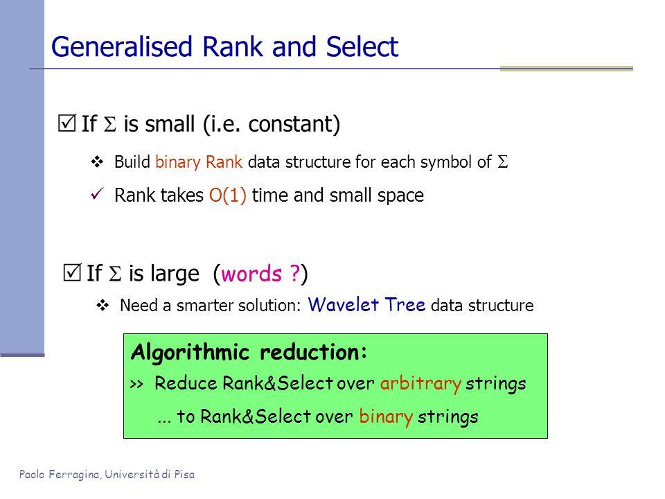 Paolo Ferragina, Università di Pisa Generalised Rank and Select  If  is small (i.e.