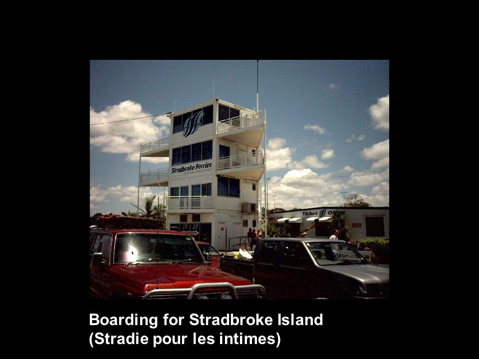 Boarding for Stradbroke Island (Stradie pour les intimes)