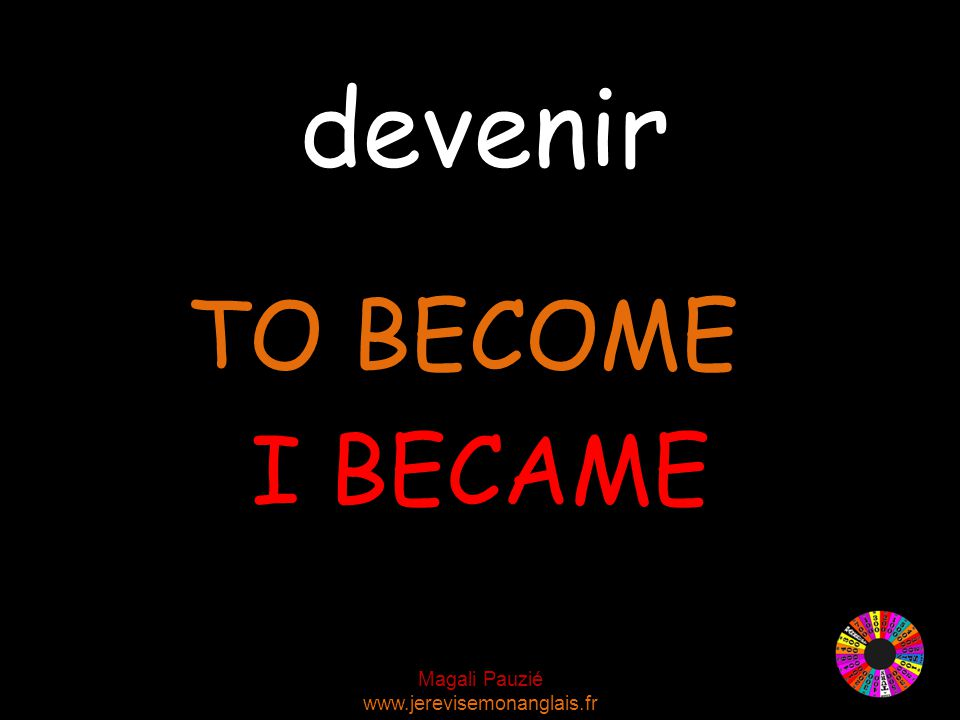 Magali Pauzié www.jerevisemonanglais.fr devenir TO BECOME I BECAME