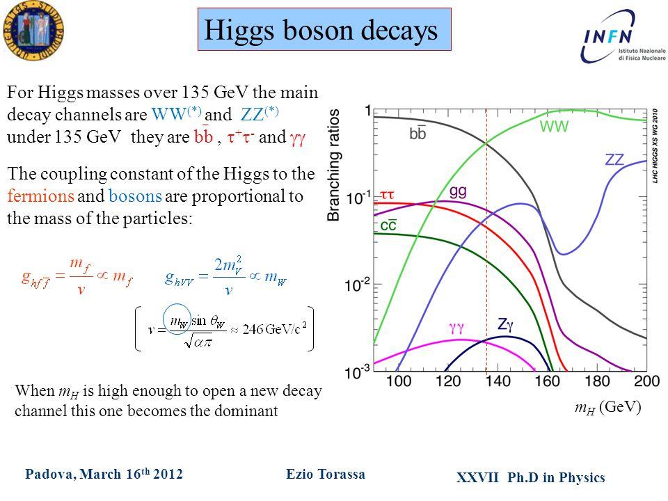 XXVII Ph.D in Physics Ezio TorassaPadova, March 16 th 2012 Higgs branching ratios Higgs boson decays For Higgs masses over 135 GeV the main decay chan