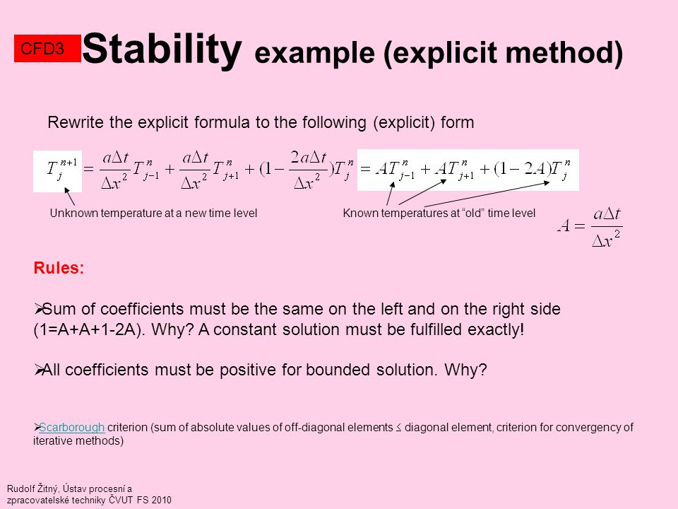 Rudolf Žitný, Ústav procesní a zpracovatelské techniky ČVUT FS 2010 Stability example (explicit method) CFD3 Rewrite the explicit formula to the follo