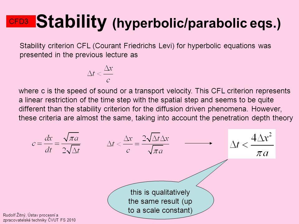 Rudolf Žitný, Ústav procesní a zpracovatelské techniky ČVUT FS 2010 Stability (hyperbolic/parabolic eqs.) CFD3 Stability criterion CFL (Courant Friedr