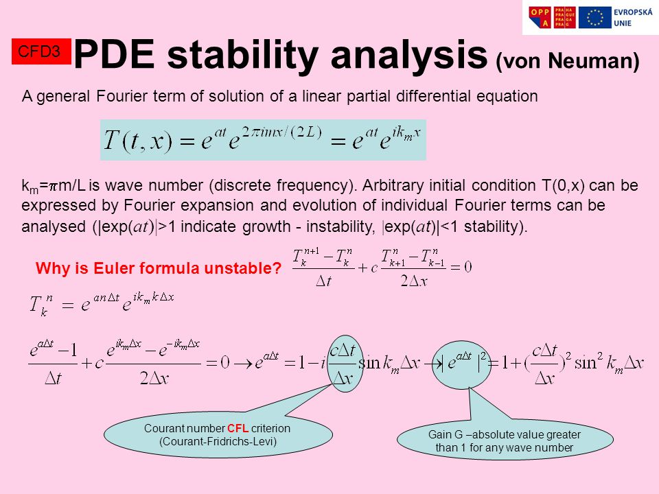 CFD3 PDE stability analysis (von Neuman) A general Fourier term of solution of a linear partial differential equation k m =  m/L is wave number (discrete frequency).