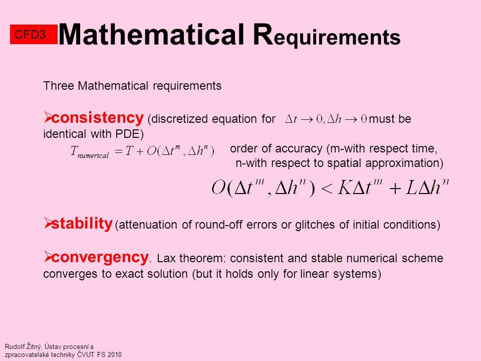 Rudolf Žitný, Ústav procesní a zpracovatelské techniky ČVUT FS 2010 Mathematical R equirements CFD3 Three Mathematical requirements  consistency (dis