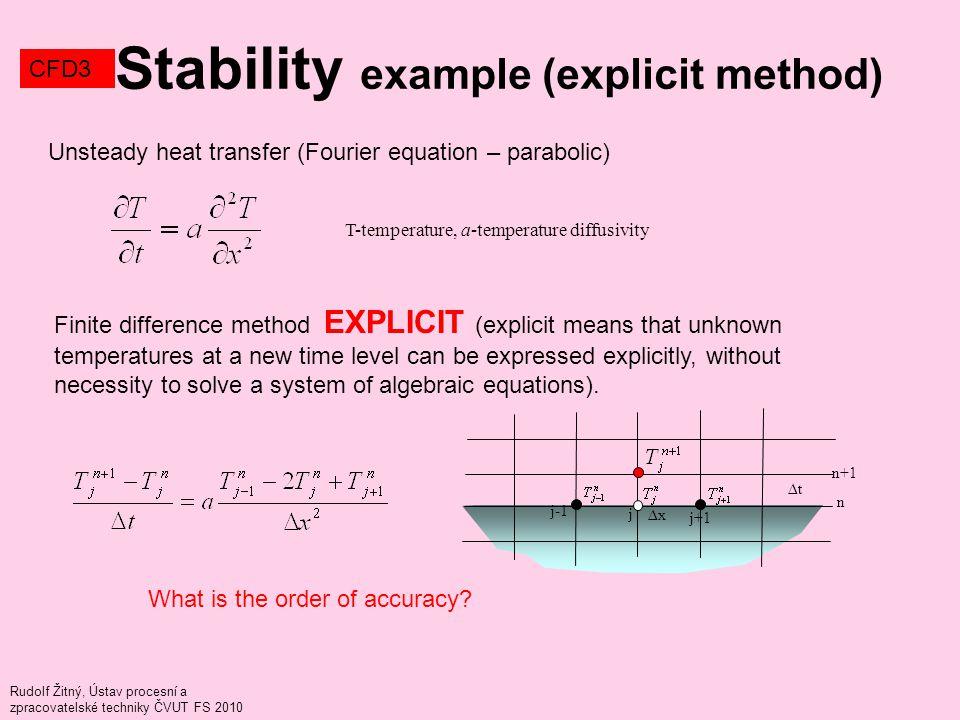 Rudolf Žitný, Ústav procesní a zpracovatelské techniky ČVUT FS 2010 Stability example (explicit method) CFD3 j j+1 j-1 n n+1 ∆x ∆t Unsteady heat trans