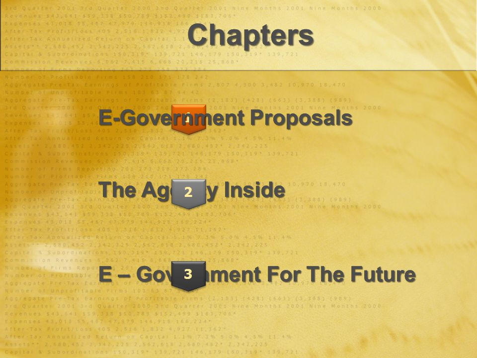 ChaptersChapters The Agency Inside E – Government For The Future 1 2 3 E-Government Proposals