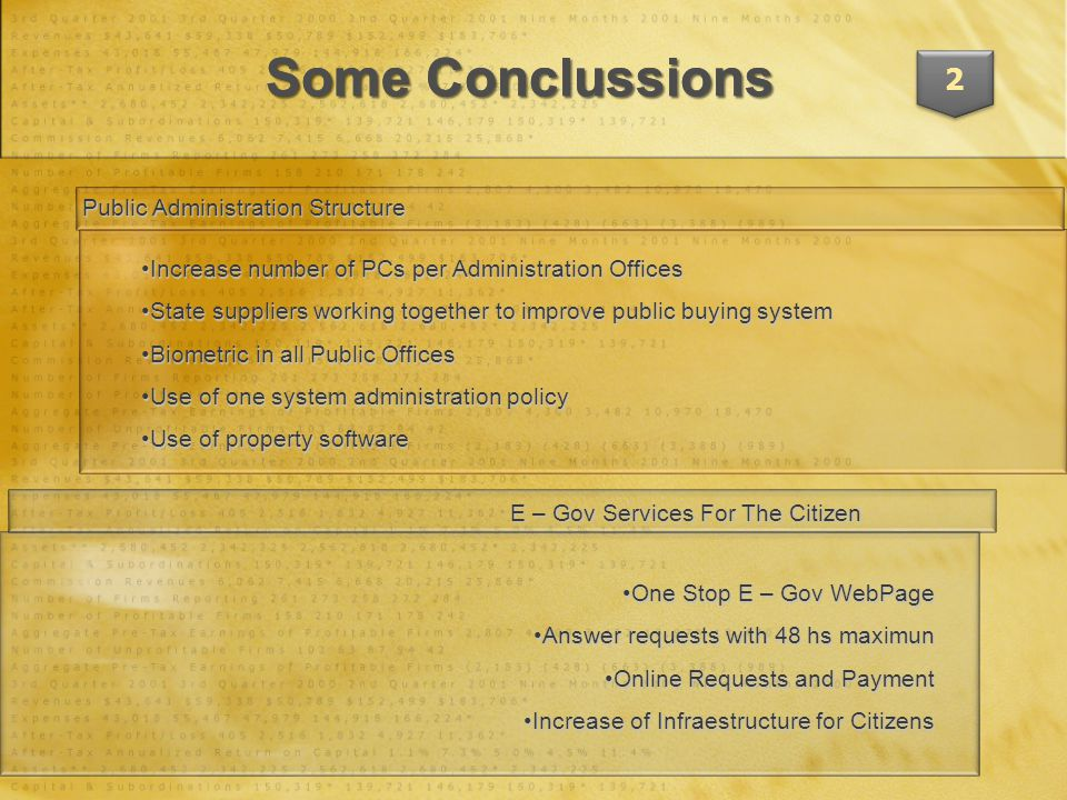 Some Conclussions 2 Public Administration Structure E – Gov Services For The Citizen Increase number of PCs per Administration OfficesIncrease number of PCs per Administration Offices State suppliers working together to improve public buying systemState suppliers working together to improve public buying system Biometric in all Public OfficesBiometric in all Public Offices Use of one system administration policyUse of one system administration policy Use of property softwareUse of property software One Stop E – Gov WebPageOne Stop E – Gov WebPage Answer requests with 48 hs maximunAnswer requests with 48 hs maximun Online Requests and PaymentOnline Requests and Payment Increase of Infraestructure for CitizensIncrease of Infraestructure for Citizens