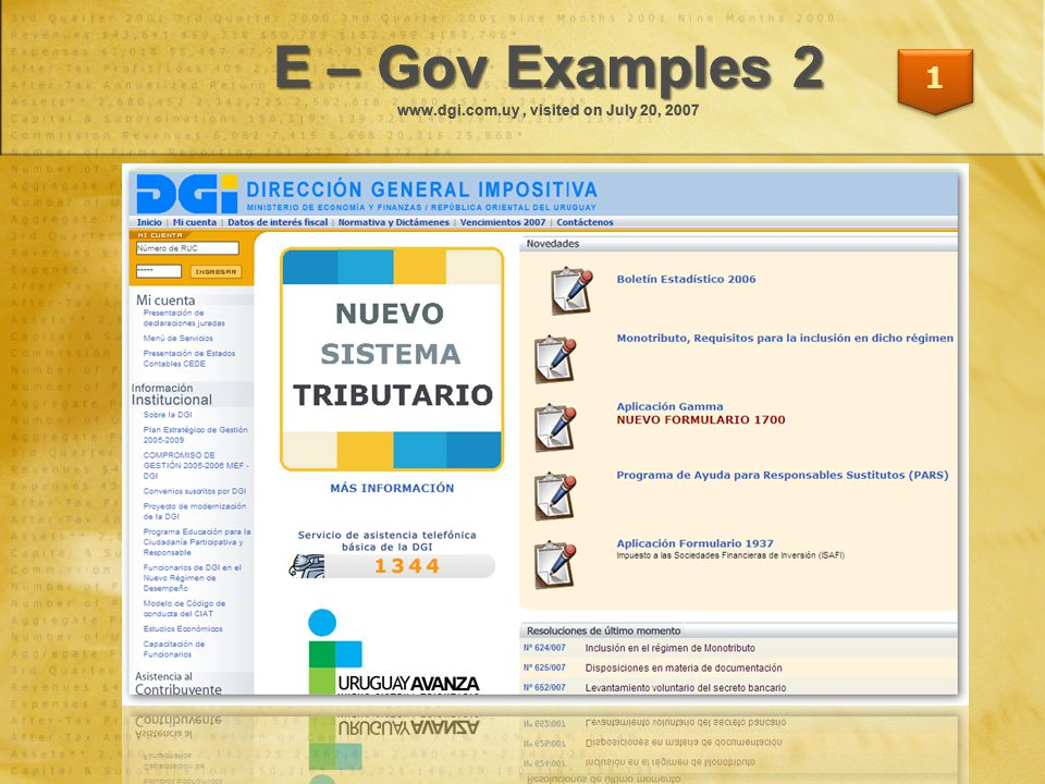 E – Gov Examples 2 E – Gov Examples 2 www.dgi.com.uy, visited on July 20, 2007 1