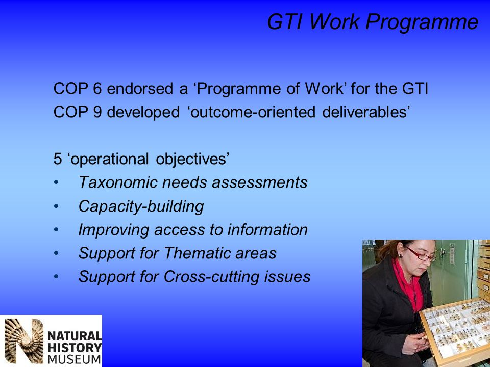 GTI Work Programme COP 6 endorsed a 'Programme of Work' for the GTI COP 9 developed 'outcome-oriented deliverables' 5 'operational objectives' Taxonomic needs assessments Capacity-building Improving access to information Support for Thematic areas Support for Cross-cutting issues
