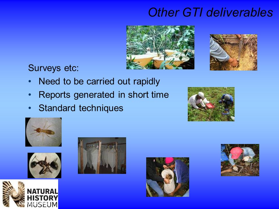 February 2012 Other GTI deliverables Surveys etc: Need to be carried out rapidly Reports generated in short time Standard techniques