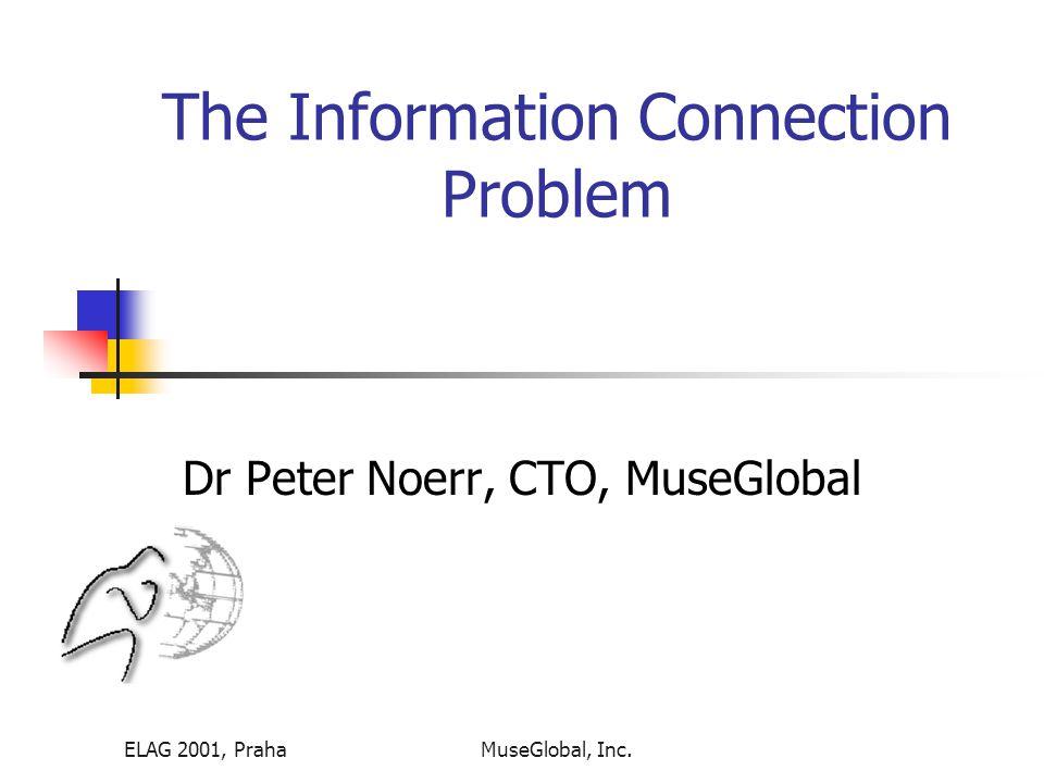 ELAG 2001, PrahaMuseGlobal, Inc. The Information Connection Problem Dr Peter Noerr, CTO, MuseGlobal